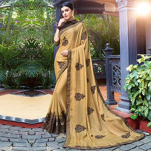 Elegant Beige Colored Partywear Embroidered Chiffon Saree