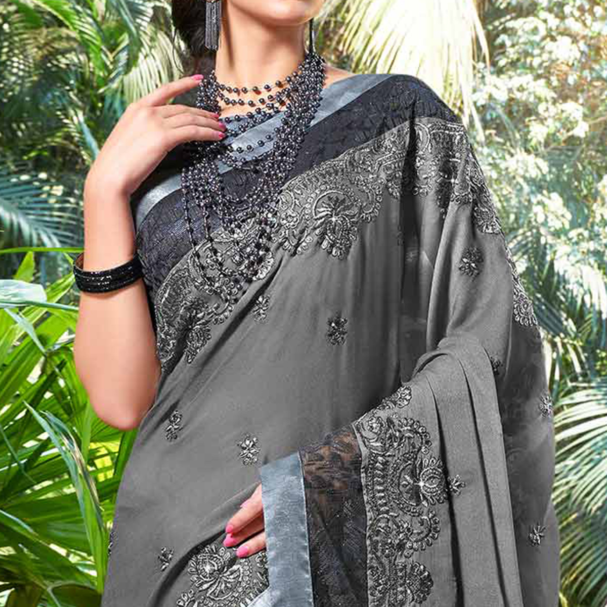 Trendy Grey Colored Partywear Embroidered Chiffon Saree