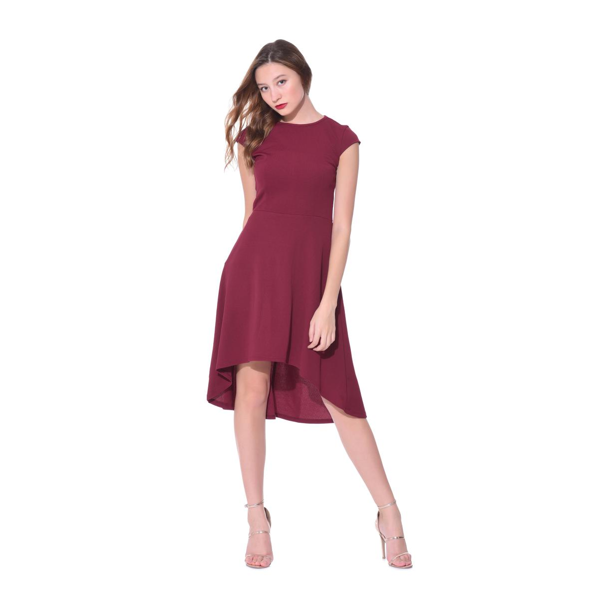 Red Casual Wear A-line Round Neck Polyester Dress