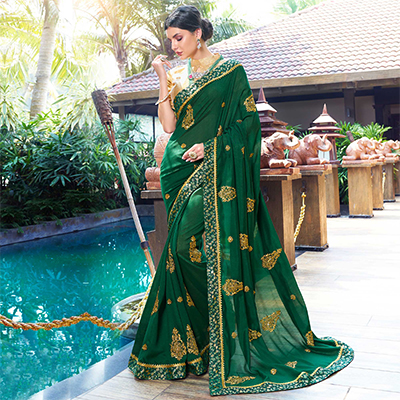 Glorious Green Colored Partywear Embroidered Chiffon Saree