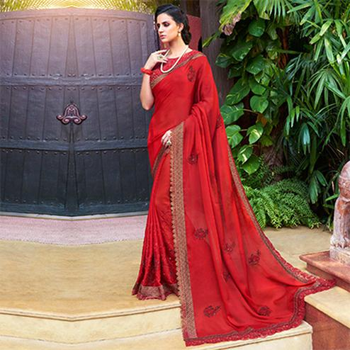 Traditional Red Colored Partywear Embroidered Chiffon Saree