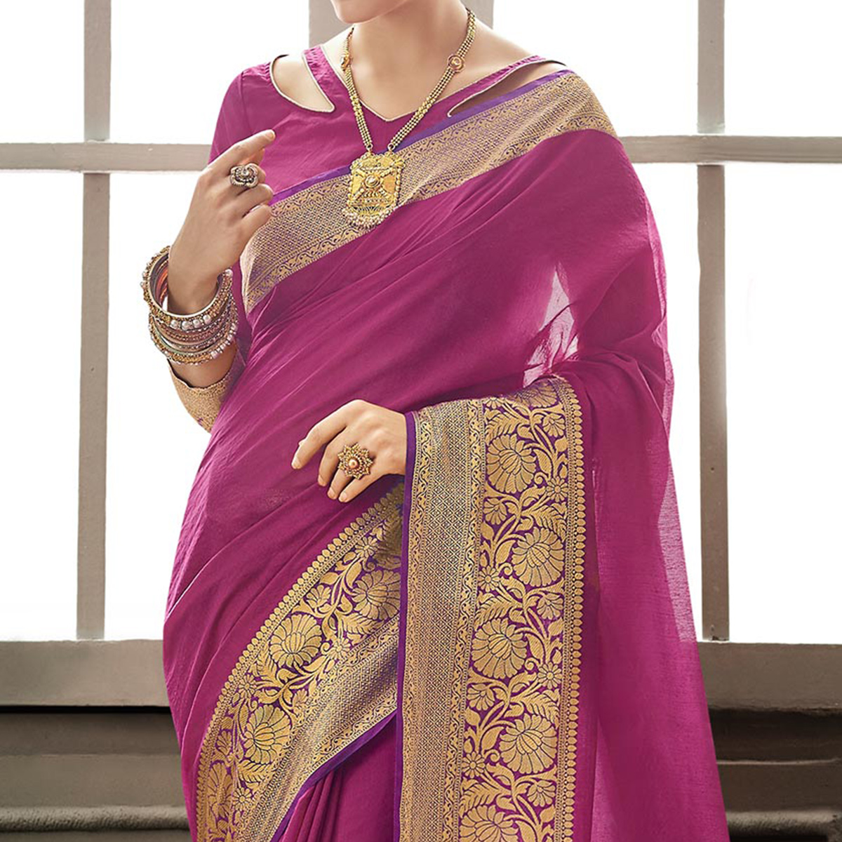 Magenta Pink Traditional Saree With Weaving Border