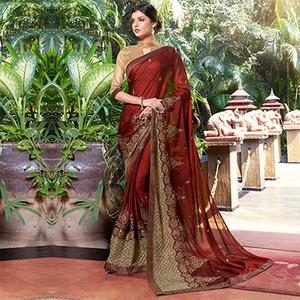 Beautiful Maroon Colored Partywear Embroidered Georgette Saree