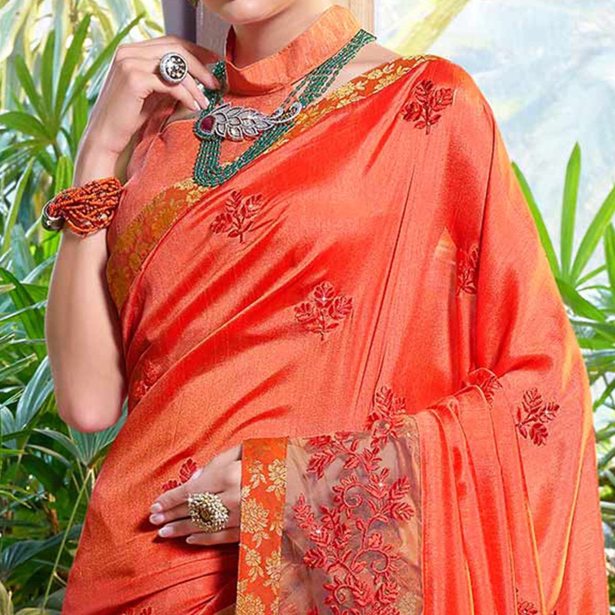Awesome Orange Colored Partywear Embroidered Art Silk Woven Saree