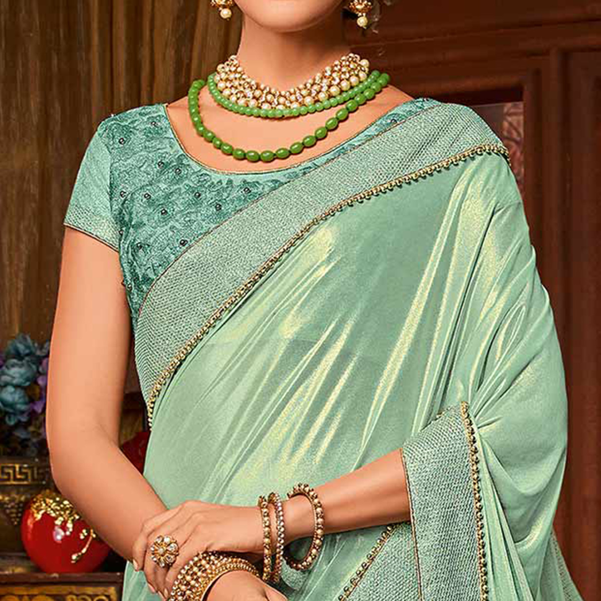 Turquoise Green Colored Designer Embroidered Partywear Half-Half Net-Jacquard Lehenga Saree