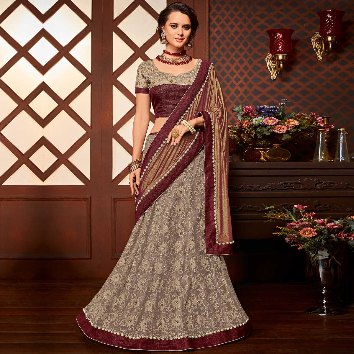 Majestic Maroon-Grey Colored Designer Embroidered Partywear Half-Half Net-Jacquard Lehenga Saree