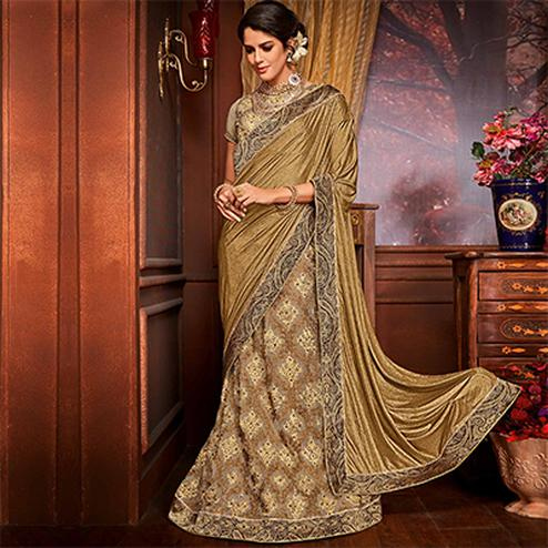 Deserving Golden-Beige Colored Designer Embroidered Partywear Half-Half Net-Jacquard Lehenga Saree