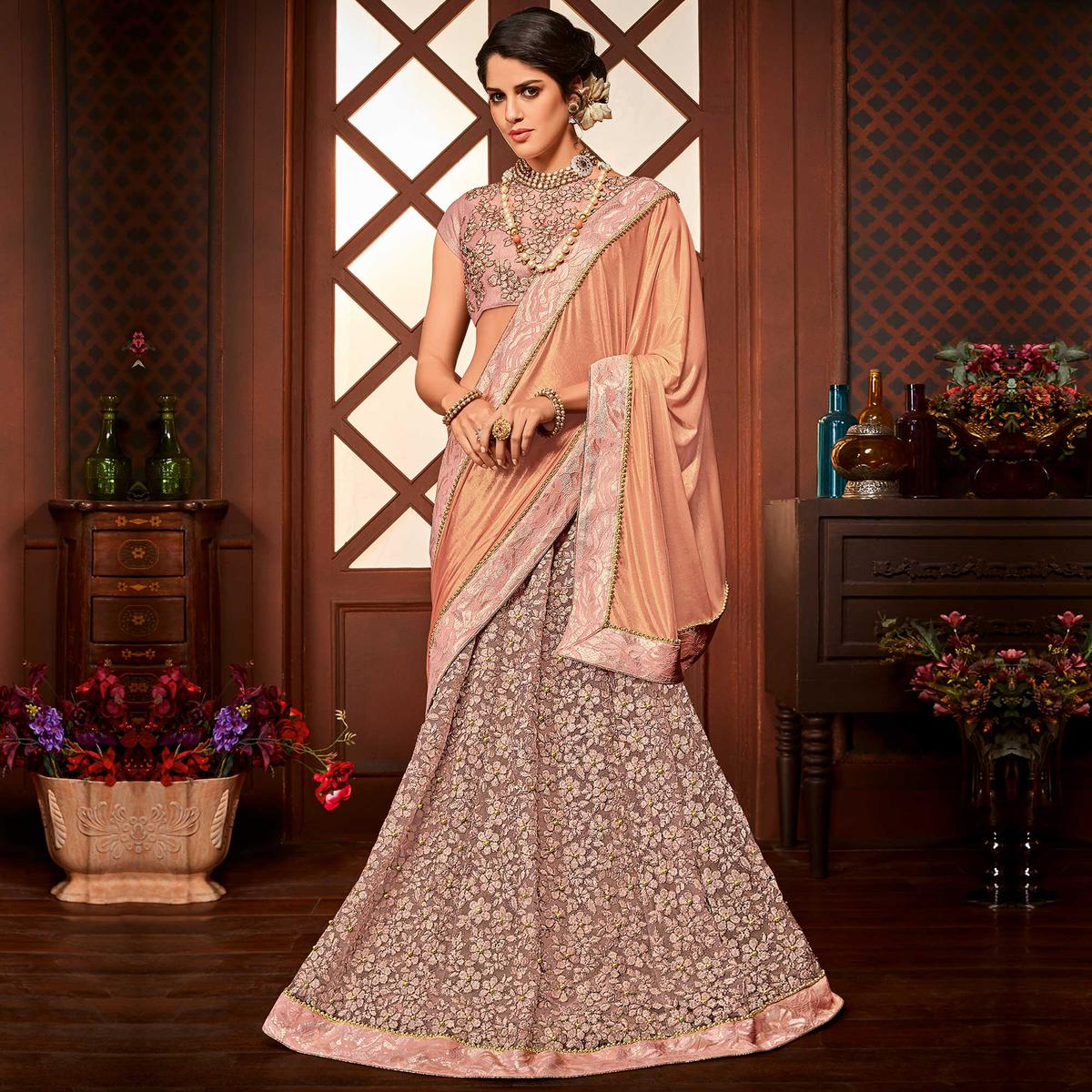 Classy Pink Colored Designer Embroidered Partywear Half-Half Net-Jacquard Lehenga Saree