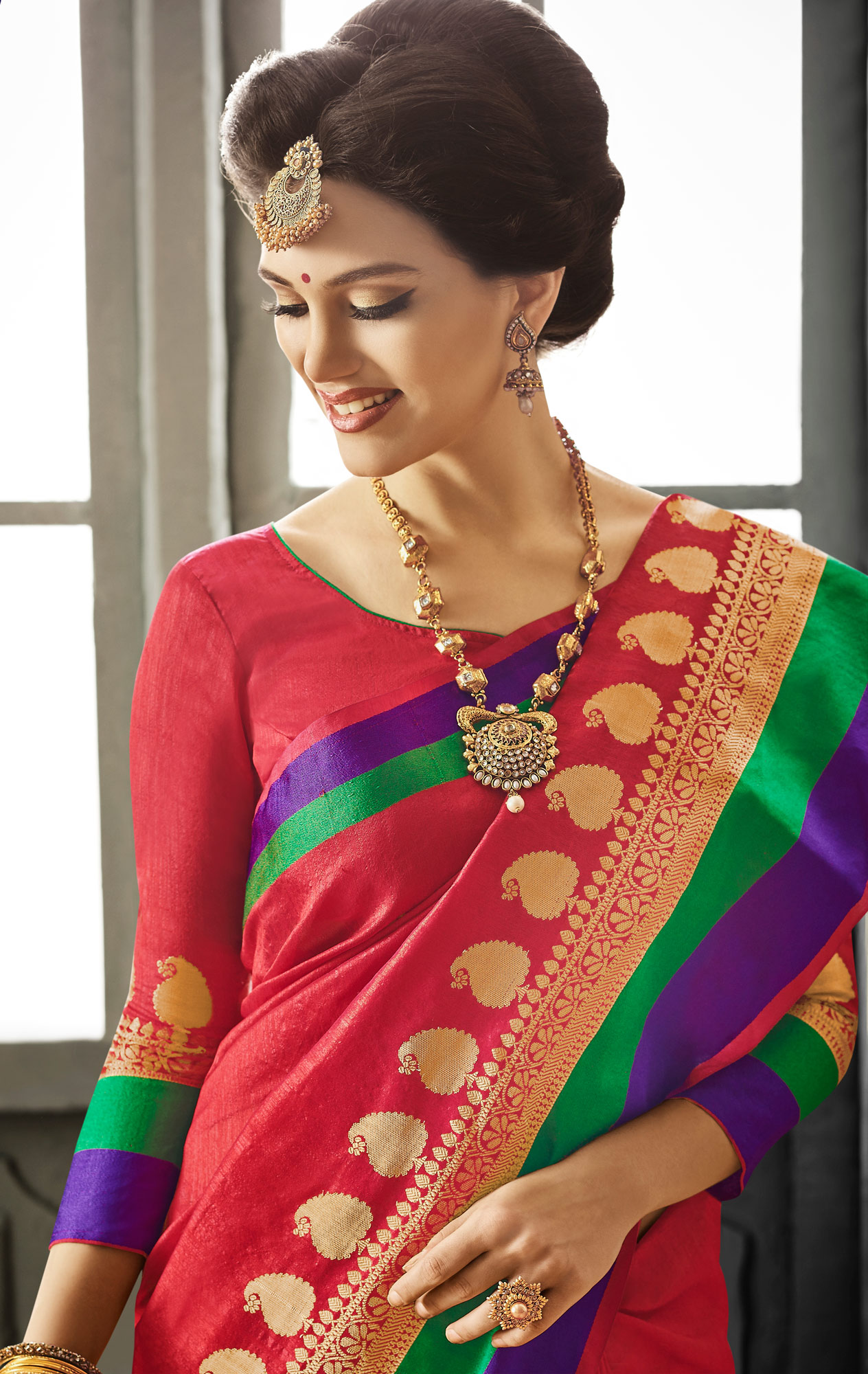 Red Cotton Silk Woven Saree