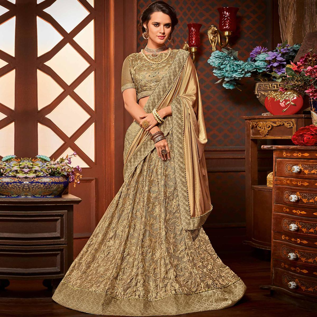Mystic Golden Colored Designer Embroidered Partywear Half-Half Net-Jacquard Lehenga Saree