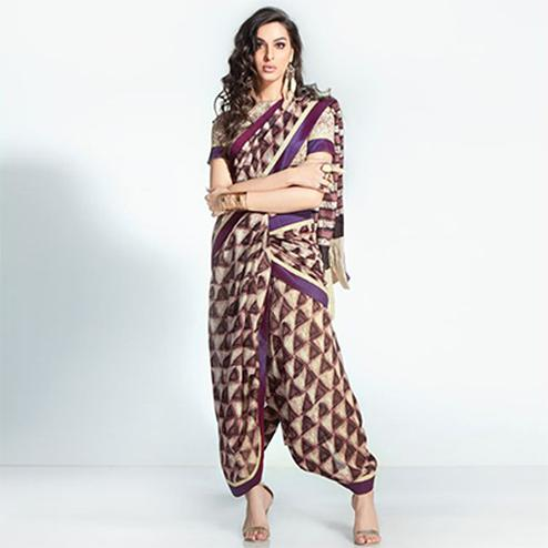 Appealing Purple Colored Printed Handloom Silk Saree