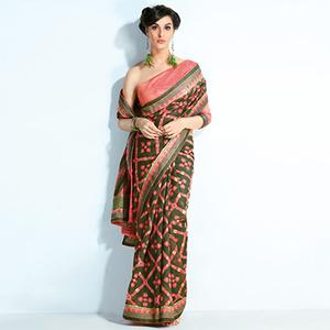 Gorgeous Green-Peach Colored Printed Crystal Handloom Silk Saree