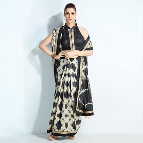 Ravishing Black-White Colored Printed Handloom Silk Saree
