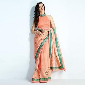 Graceful Peach Colored Printed Crystal Handloom Silk Saree