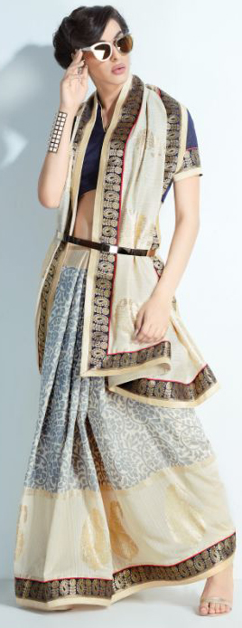 Stunning Grey-Cream Colored Printed Crystal Handloom Silk Saree