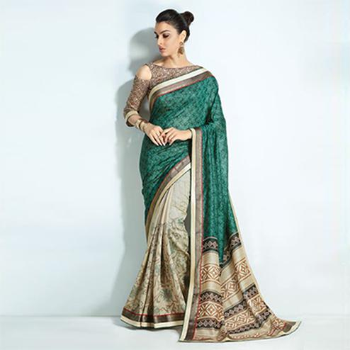 Lovely Green-Beige Colored Printed Handloom Silk Saree