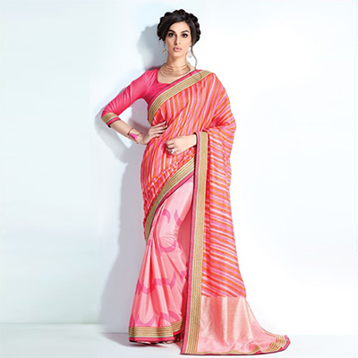 Attractive Pink-Peach Colored Printed Crystal Handloom-Crape Silk Saree