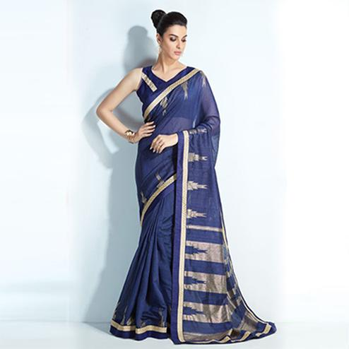 Beautiful Navy Blue Colored Printed Crystal Handloom Silk Saree