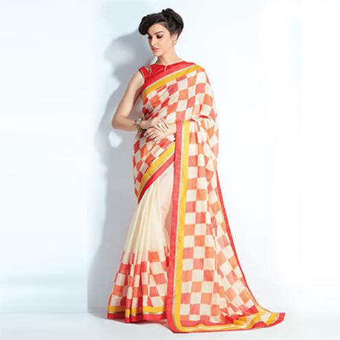 Amazing Cream Colored Printed Crystal Handloom Silk Saree