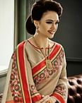 Beige Cotton Silk Saree With Weaving Border