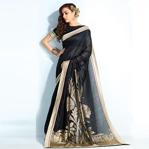 Charming Black Colored Printed Crystal Handloom Silk Saree
