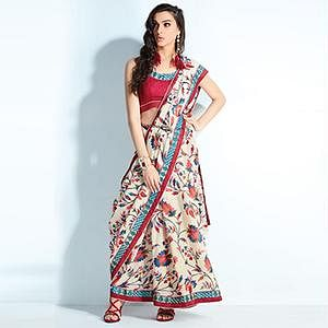 Sizzling Multi Colored Printed Handloom Silk Saree