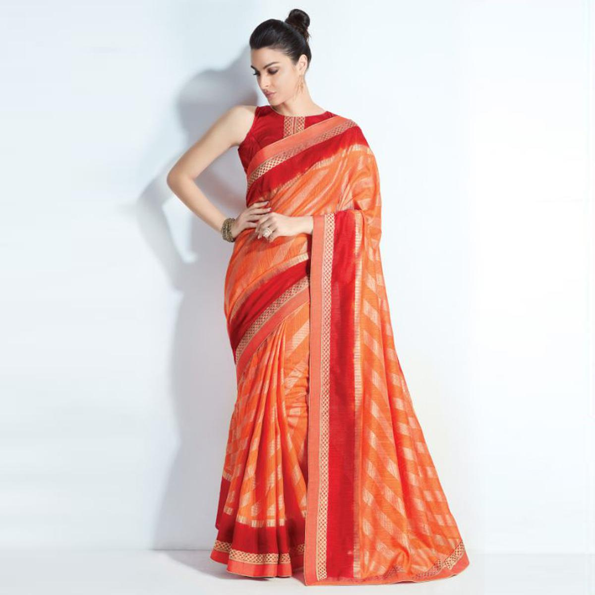 Pretty Orange-Red Colored Printed Crystal Handloom Silk Saree