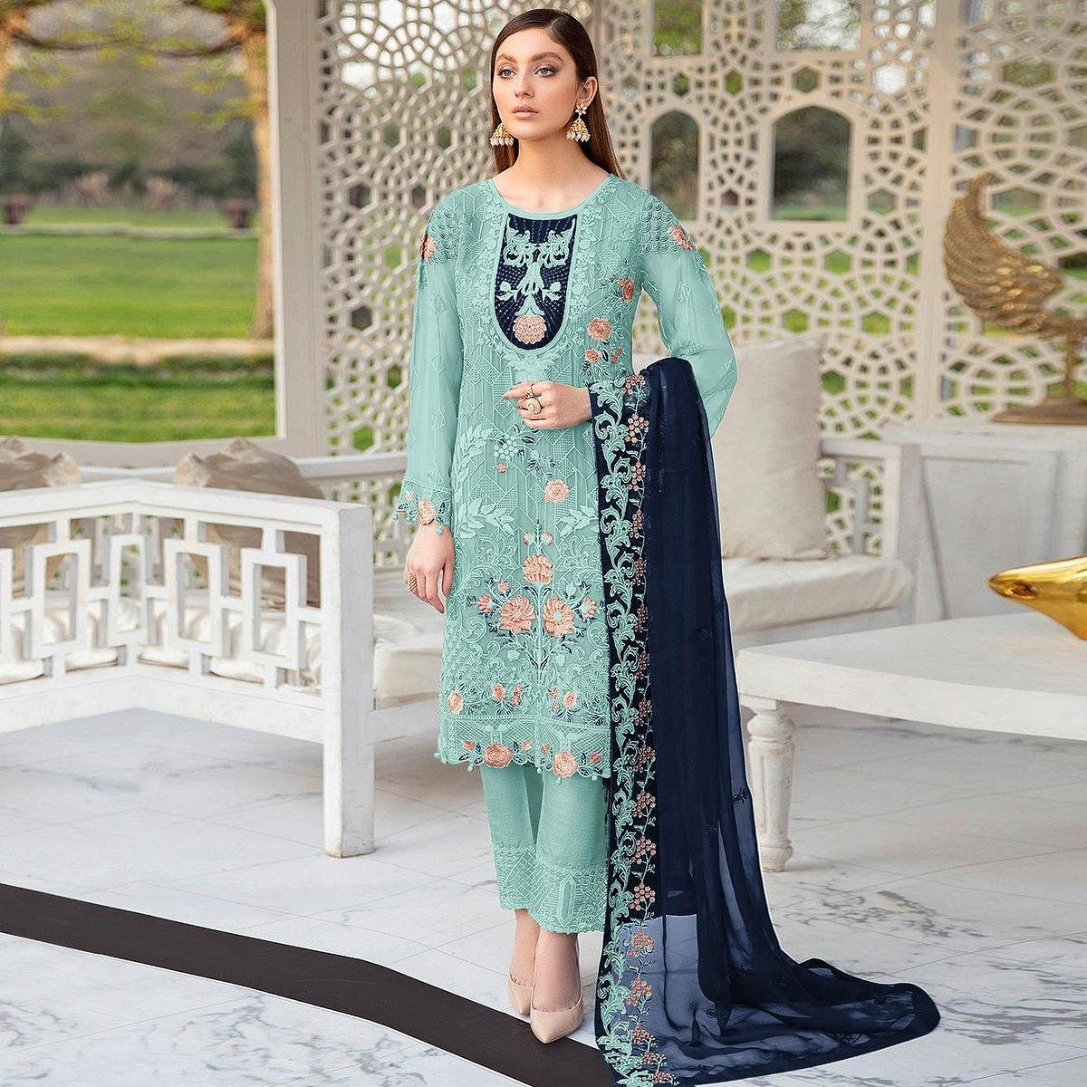 Sky Blue Festive Wear Floral Embroidered Straight Style Faux Georgette Palazzo Suit