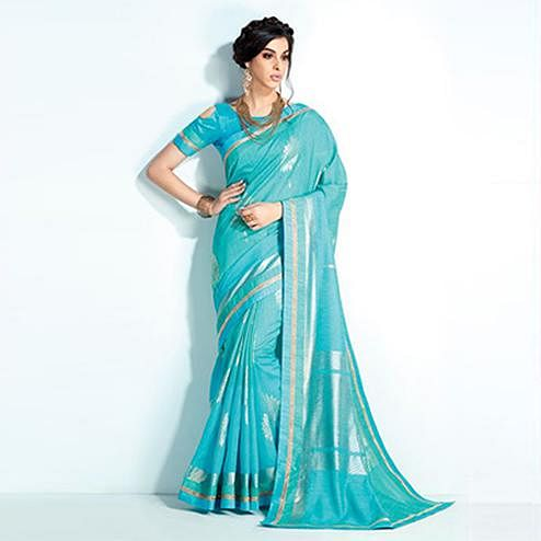 Appealing Sky Blue Colored Printed Crystal Handloom Silk Saree