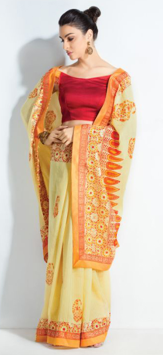 Stunning Yellow-Mustard Colored Printed Crystal Handloom Silk Saree