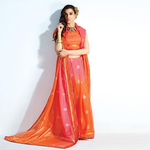 Trendy Orange-Pink Colored Printed Crystal Handloom Silk Saree