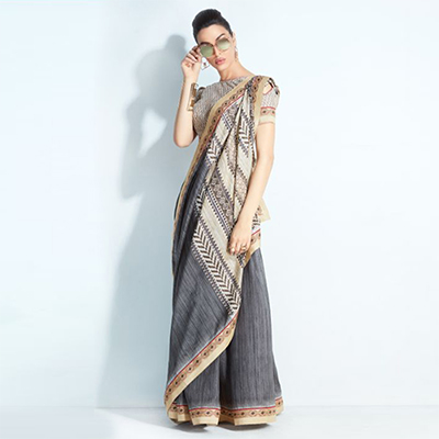 Snazzy Grey-Cream Colored Printed Handloom Silk Saree