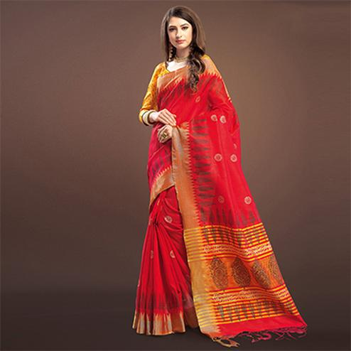 Catchy Red Colored Festive Wear Weaving Silk Saree