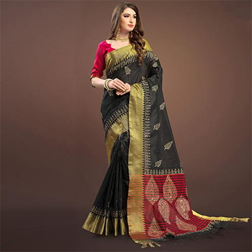 Perfect Black Colored Festive Wear Weaving Silk Saree