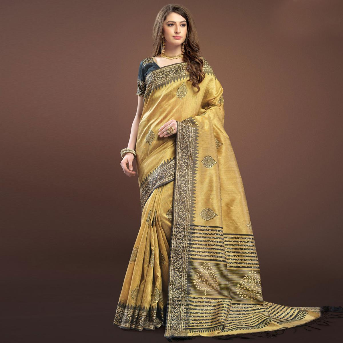 Elegant Beige Colored Festive Wear Weaving Silk Saree