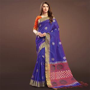 Majesty Blue Colored Festive Wear Weaving Silk Saree