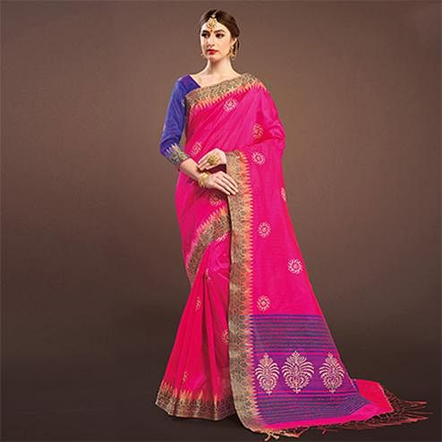 Deep Pink Colored Festive Wear Weaving Silk Saree