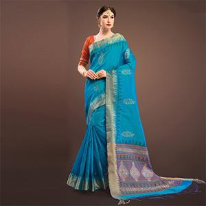 Sensational Sky Blue Colored Festive Wear Weaving Silk Saree