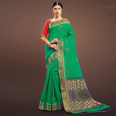 Mystic Green Colored Festive Wear Weaving Silk Saree