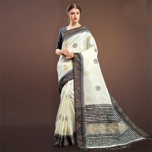 Ethnic Off-White Colored Festive Wear Weaving Silk Saree