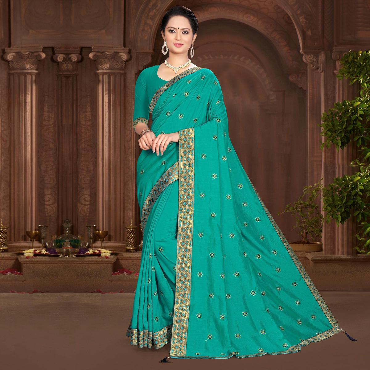 Indian Women Casual Wear Turquoise Green Vichitra Silk Lace With Embroidery Designer Saree