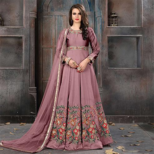 Alluring Wine Colored Partywear Embroidered Tapeta Silk Anarkali Suit