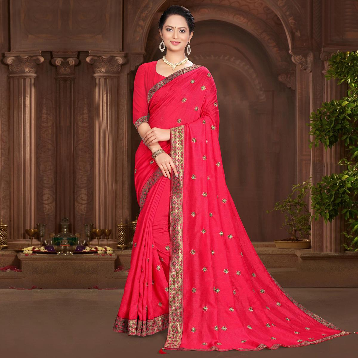 Indian Women Casual Wear Pink Vichitra Silk Lace With Embroidery Designer Saree