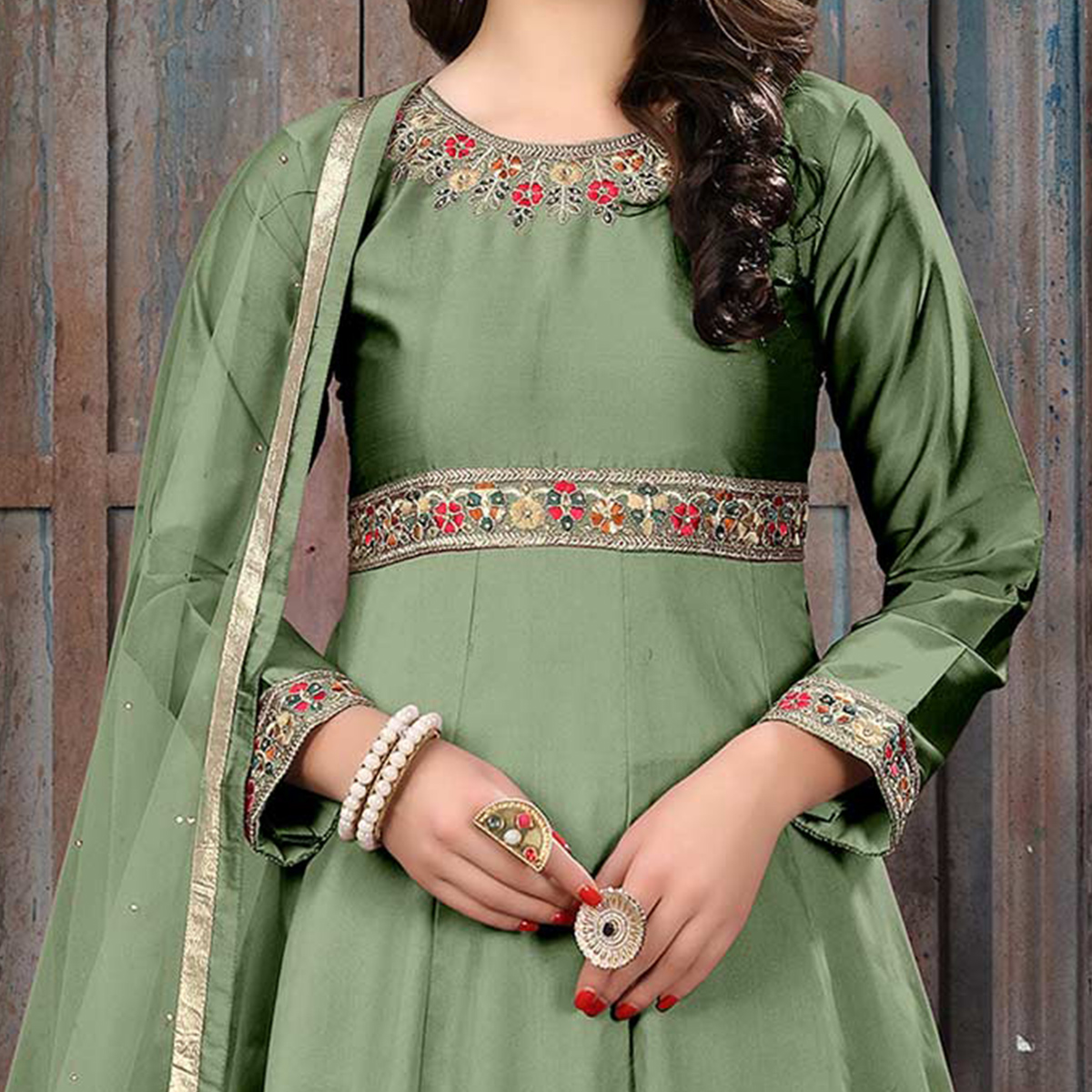 Mesmerising Olive Green Colored Partywear Embroidered Tapeta Silk Anarkali Suit