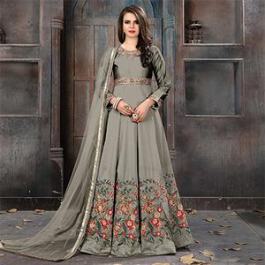 Prominent Grey Colored Partywear Embroidered Tapeta Silk Anarkali Suit