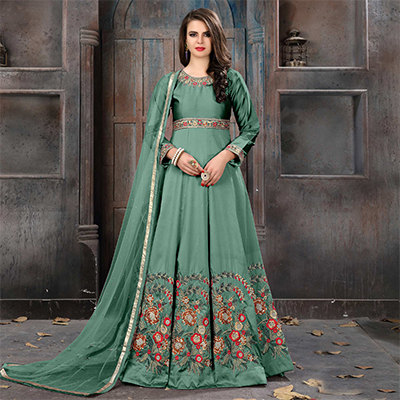 Capricious Rama Green Colored Partywear Embroidered Tapeta Silk Anarkali Suit