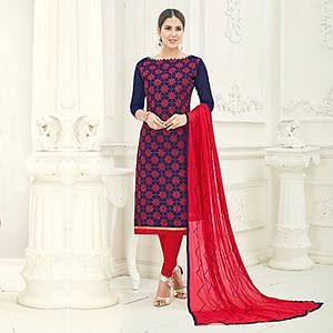 Demanding Navy Blue Colored Partywear Embroidered Cotton Suit