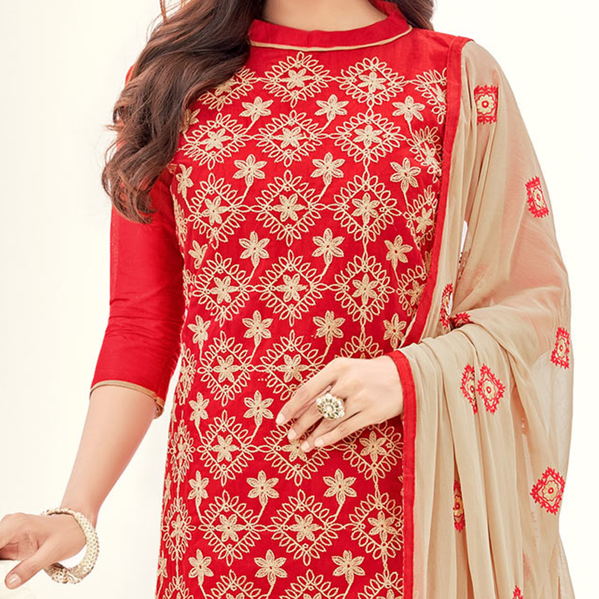 Traditional Red Colored Partywear Embroidered Cotton Suit