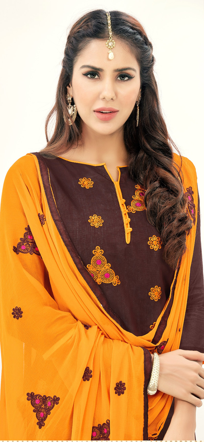 Stunning Brown Colored Partywear Embroidered Cotton Suit