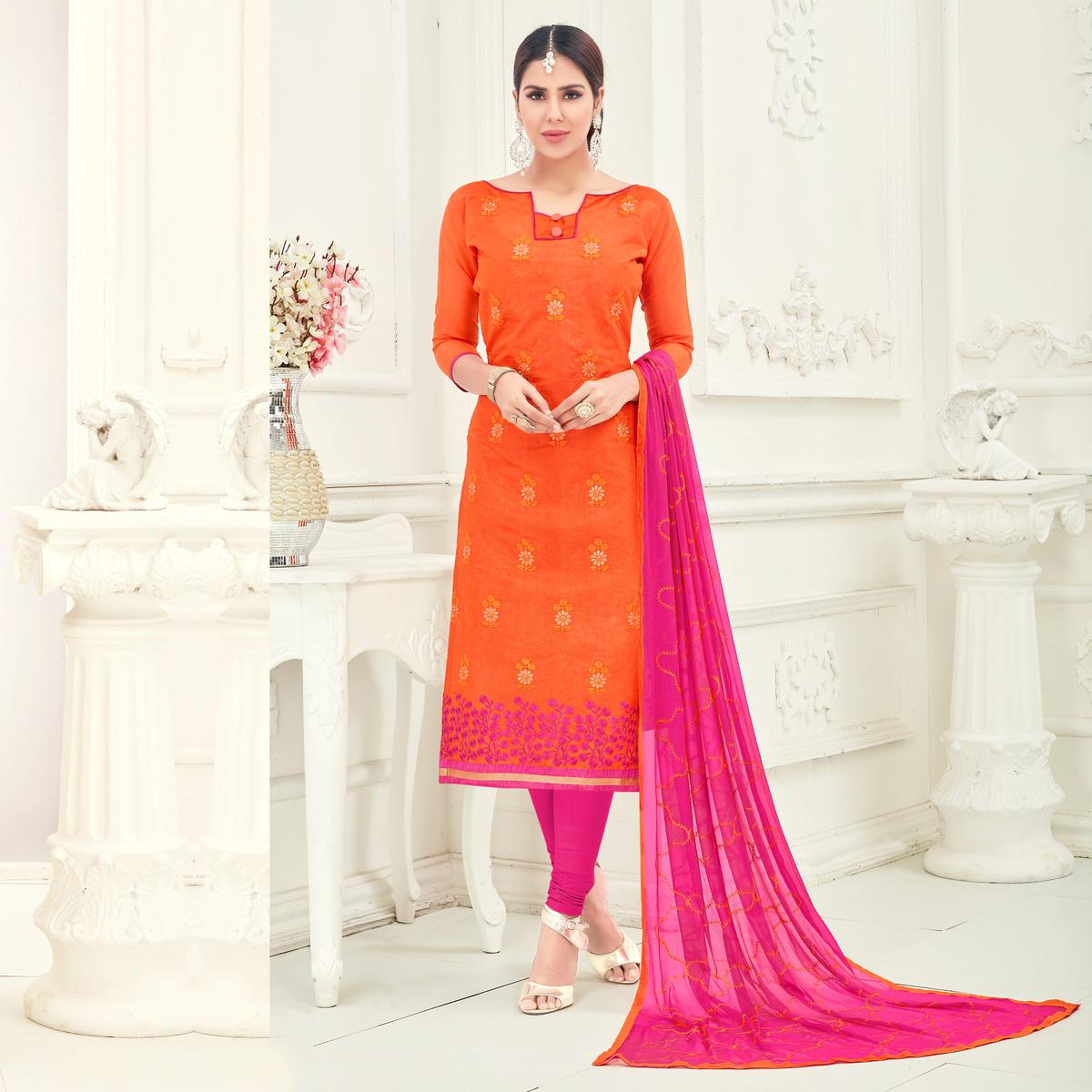 Dazzling Orange Colored Partywear Embroidered Cotton Suit